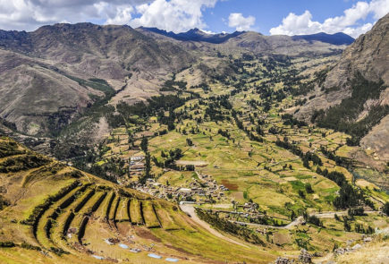 The view of Sacred Valley in Peru.