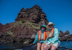 A couple in a Galapagos vacation trip.