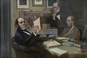 Eustaphieff, Victor; Charles Darwin (1809-1882), with Sir Charles Lyell (1797-1875), and Joseph Dalton Hooker (1817-1911); English Heritage, Down House; http://www.artuk.org/artworks/charles-darwin-18091882-with-sir-charles-lyell-17971875-and-joseph-dalton-hooker-18171911-194329