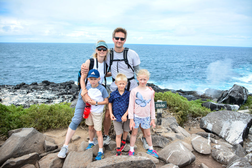 Family hiking in Galapagos