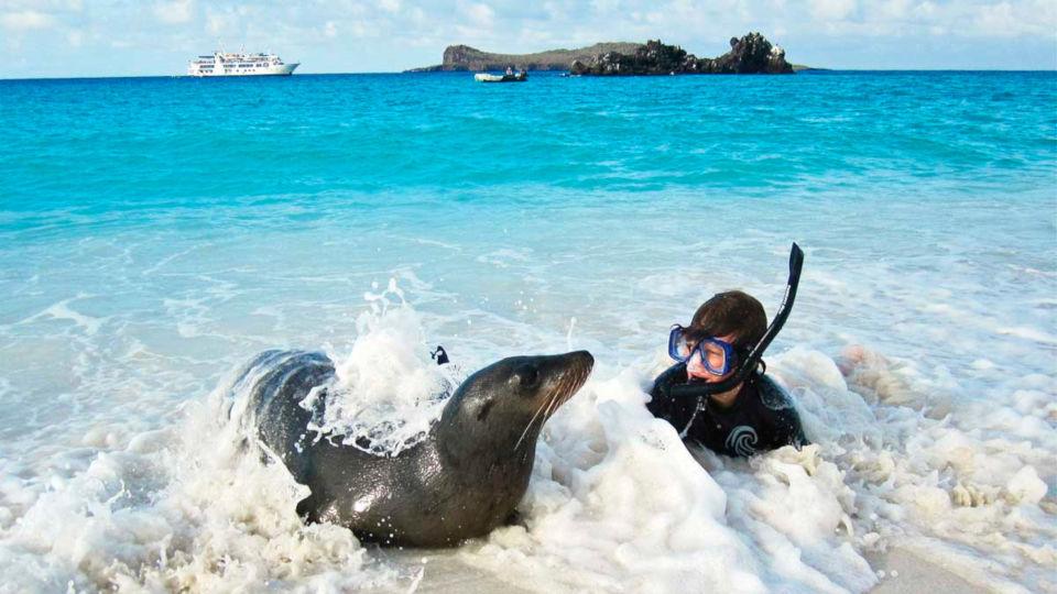 Kid snorkeling in Galapagos