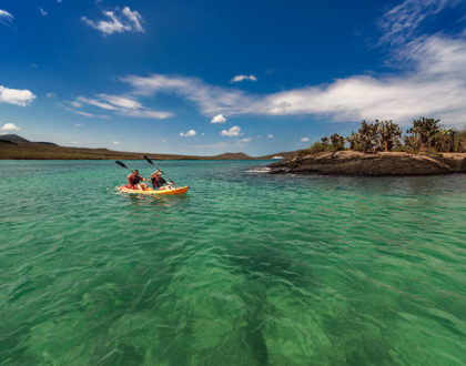 kayaking in Floreana Island.