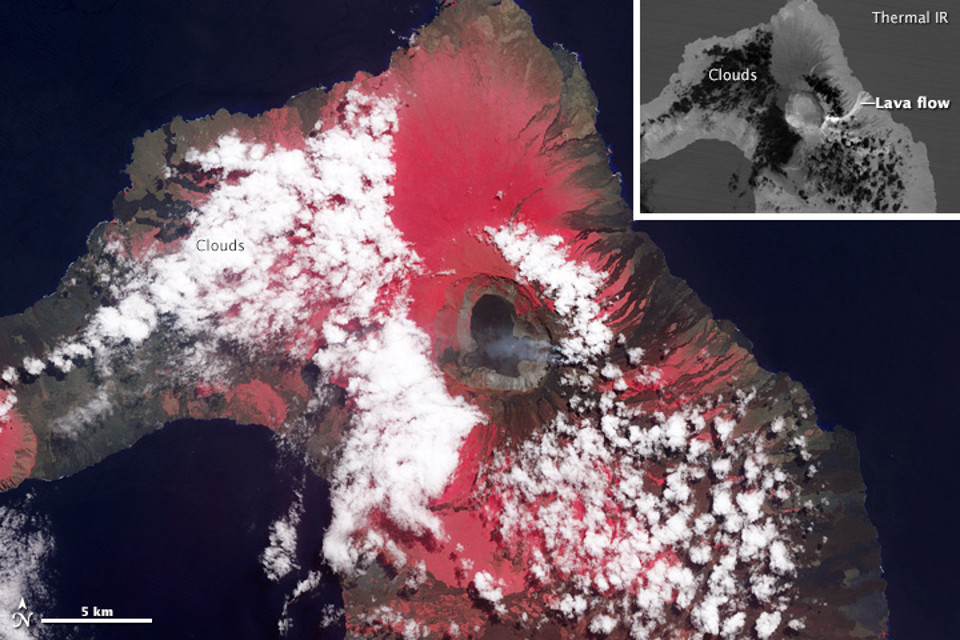 The latest volcanic activity in Galapagos: eruption of Wolf Volcano in 2015 Image credit: NASA