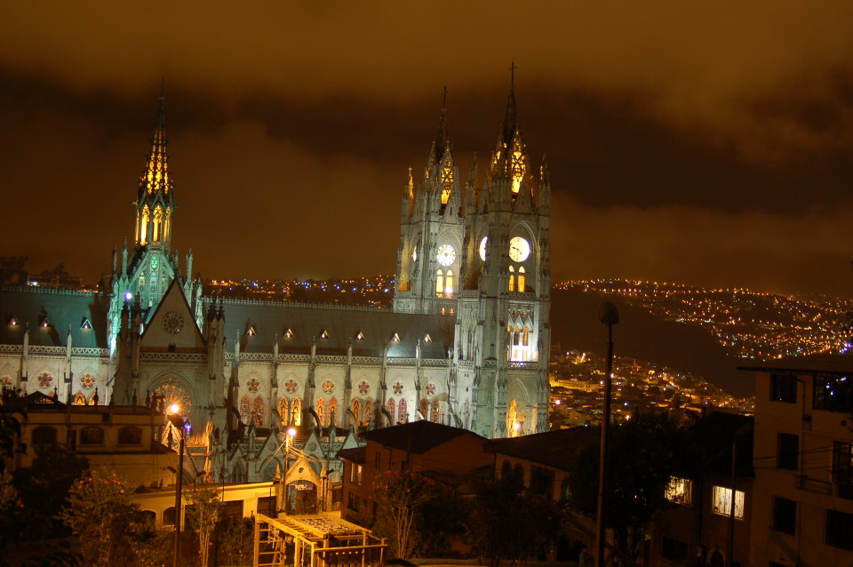Night view of the Basilica of the National Vote