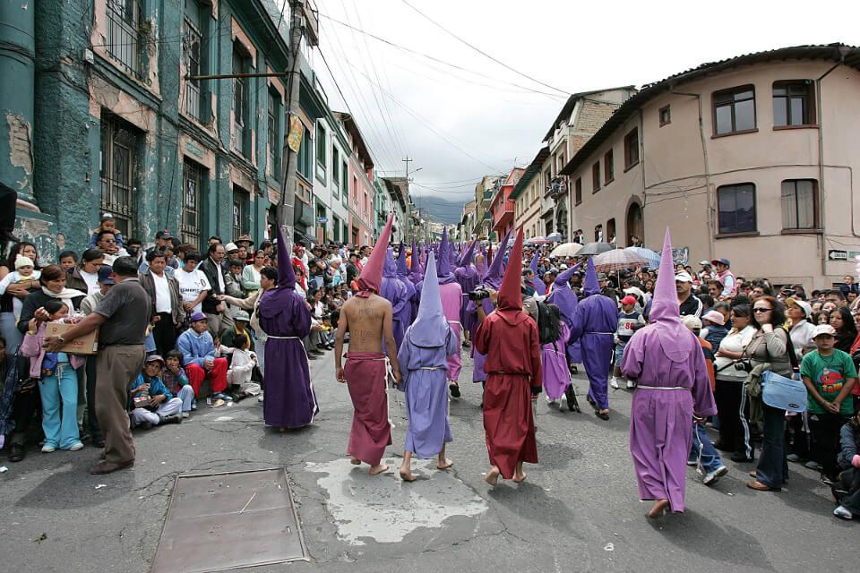Cucuruchos parade in Quito.