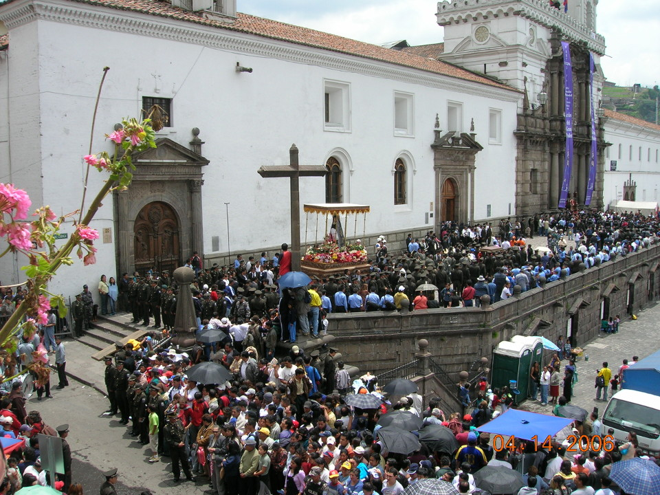Quito Procession in Plaza San Francisco during Holy Week.