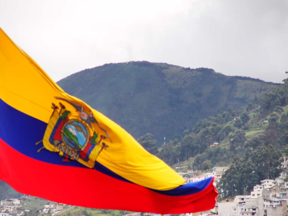 Ecuadorian flag and Pichincha on the back.