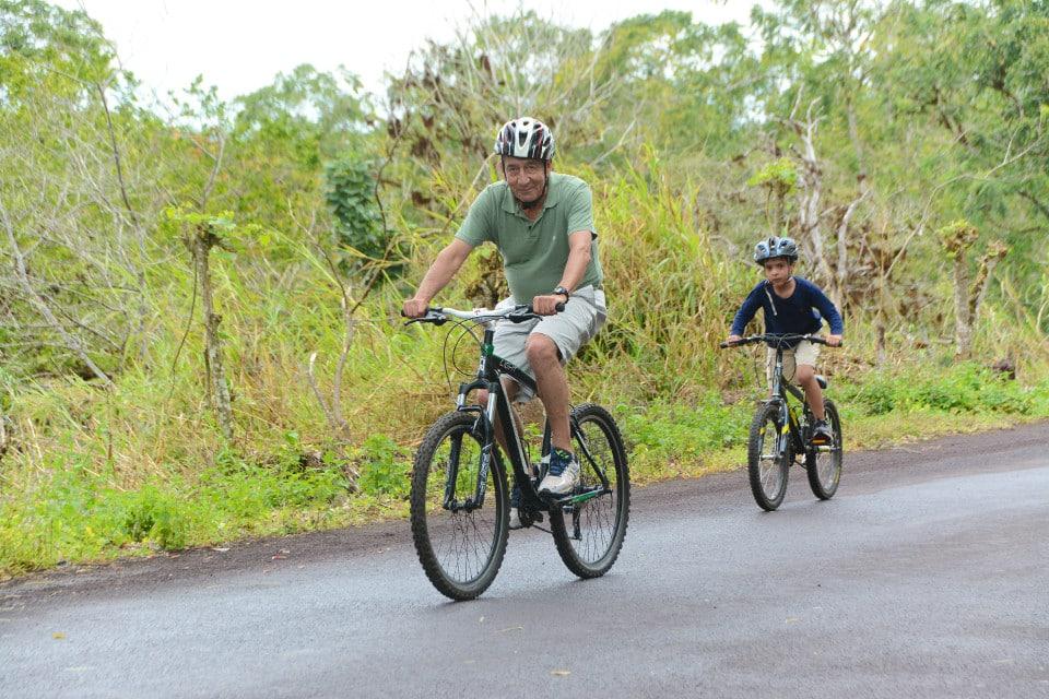 Biking at Santa Cruz Island in Galapagos.