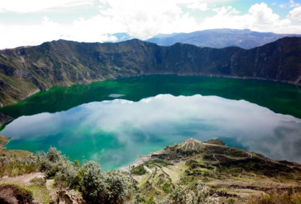 Quilotoa lagoon in Ecuador.