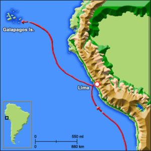 map departure charles darwin to galapagos