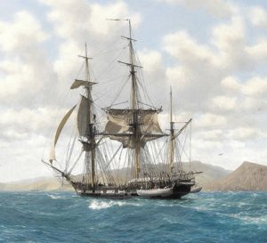 HMS Beagle in Galapagos