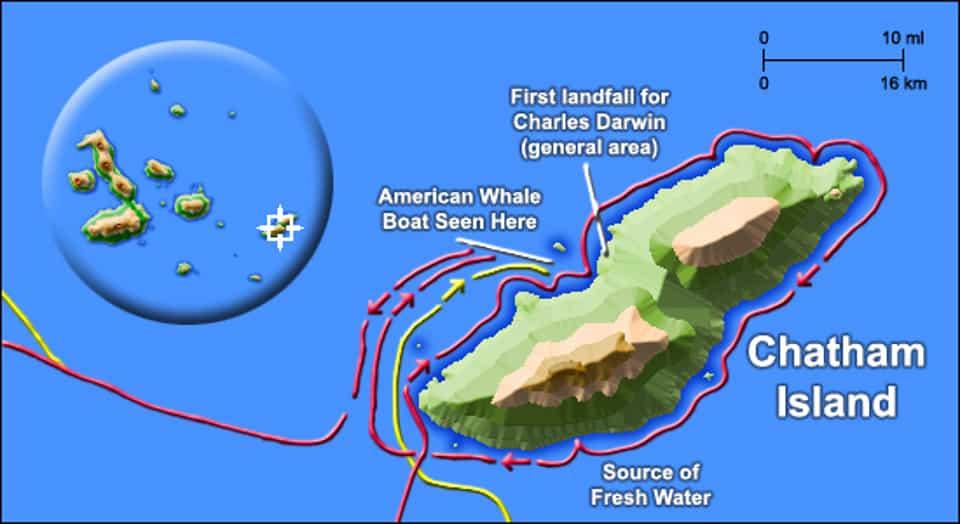 first island charles darwin landed galapagos