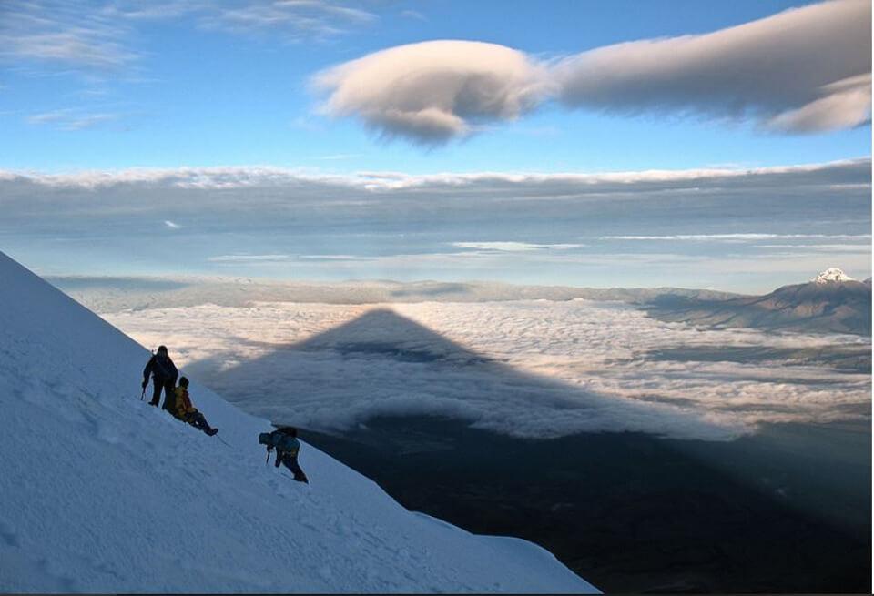 Cotopaxi volcano shadow.