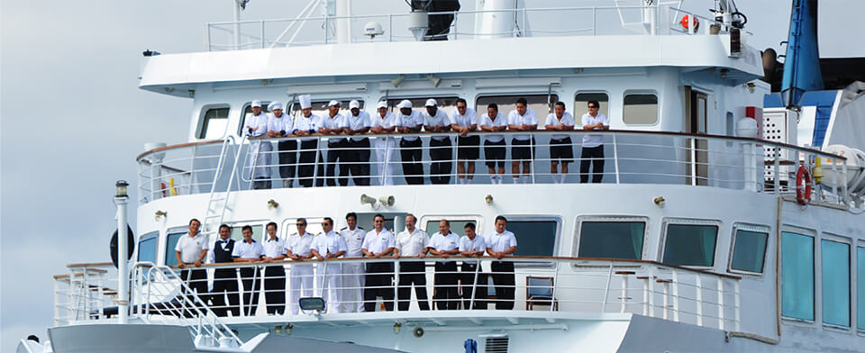 The crew in Yacht La Pinta in the Galapagos Islands.