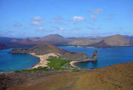 Galapagos Islands pinnacle rock view.