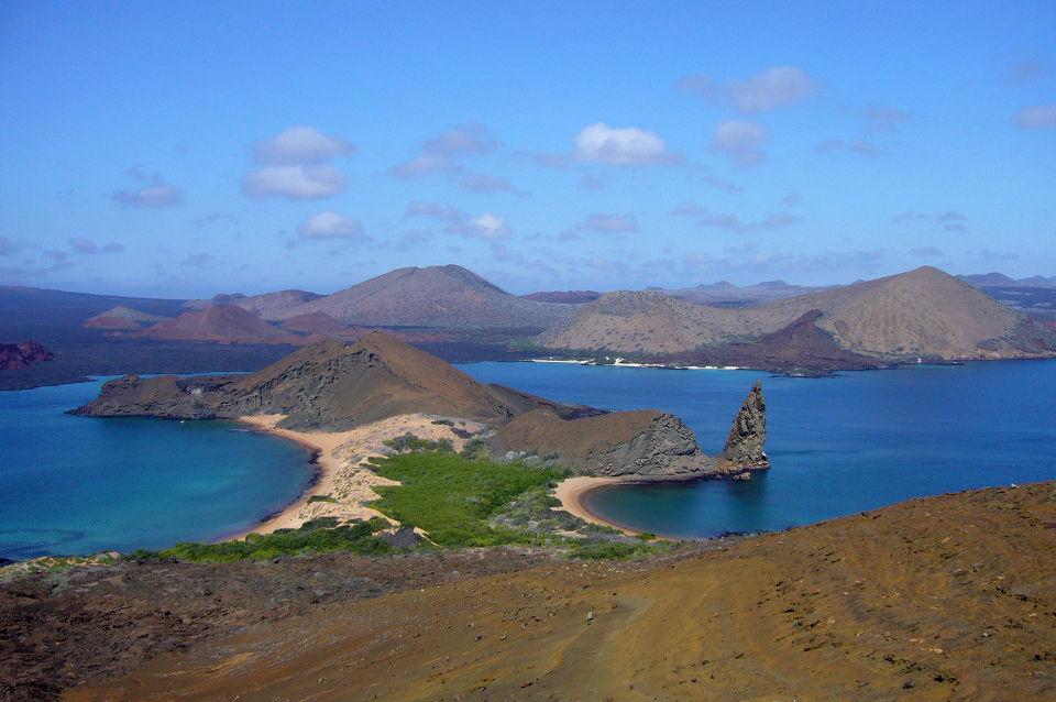 Galapagos Islands pinnacle rock view.
