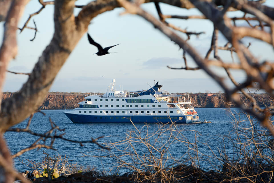 Luxury Galapagos cruise from the distance.