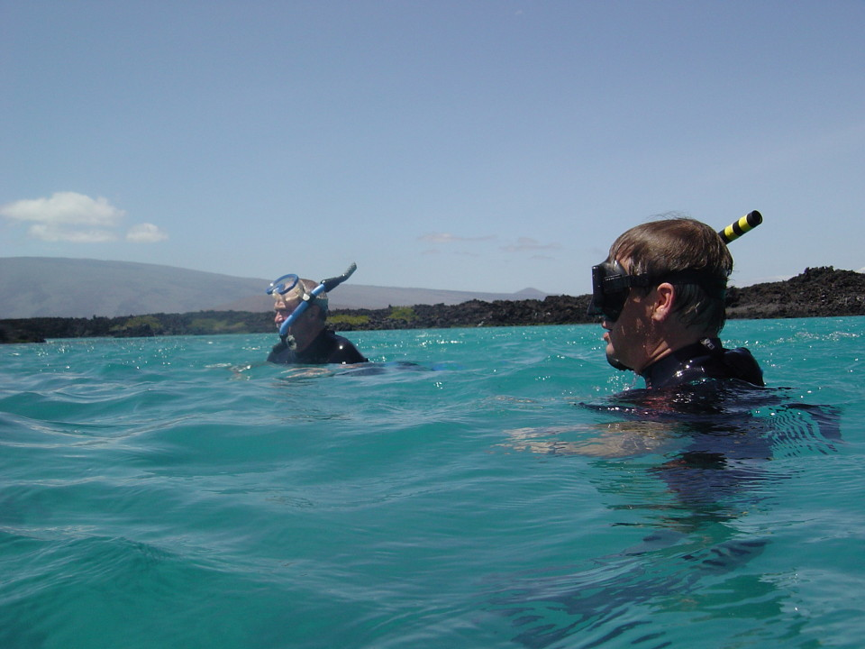 Guests snorkeling in Galapagos.