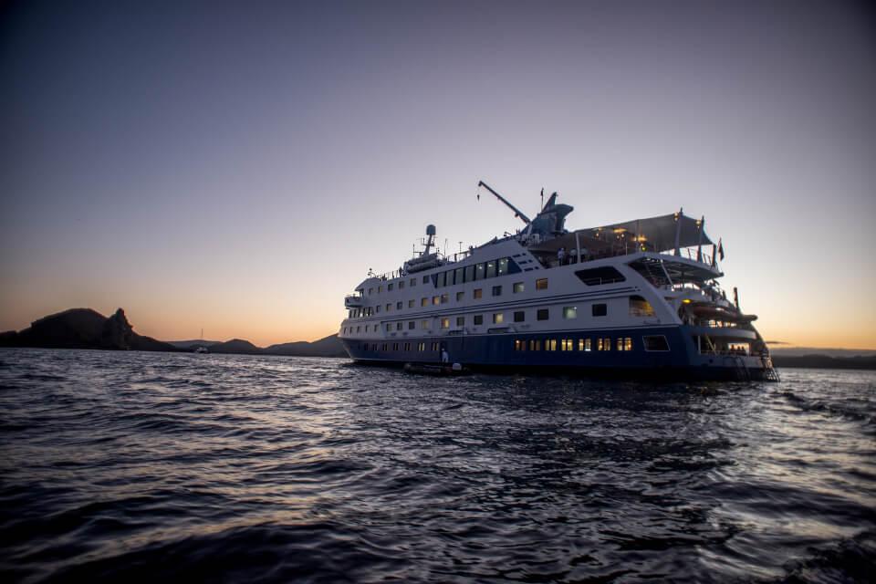 Cruise at sunset in galapagos.