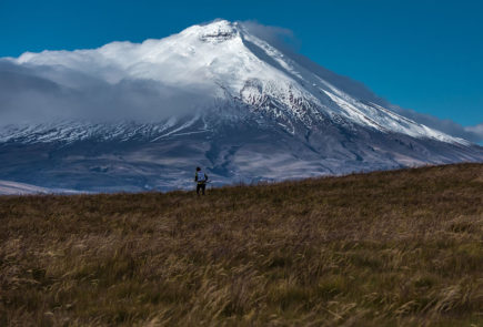 The view of Cotopaxi volcano in Ecuador.