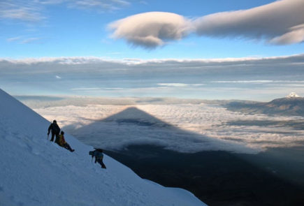 The shadow of Cotopaxi volcano in Ecuador.