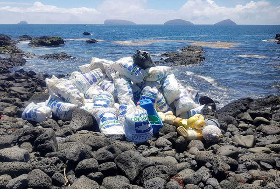 Galapagos sustainability trash clean up.