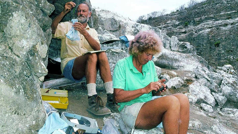 Peter and Rosemary Grant in Galapagos.