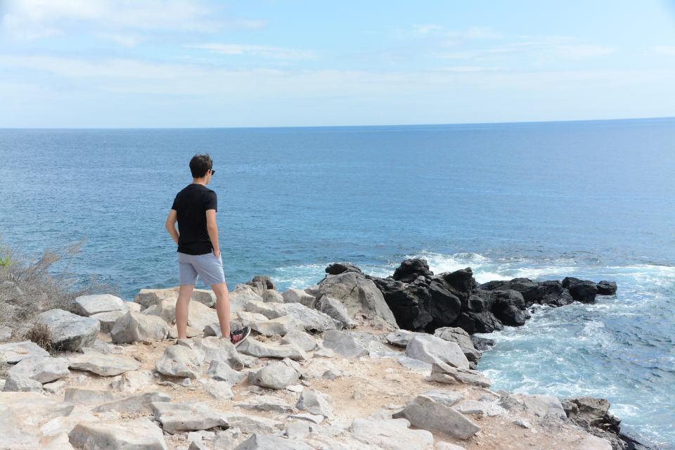 Man in Santa Fe Island, Galapagos.
