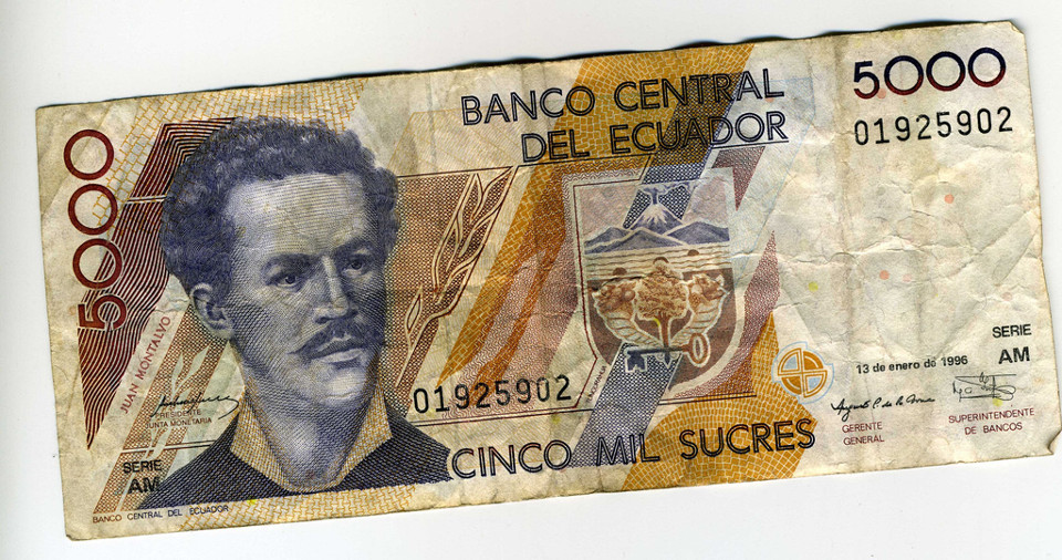 Old currency, the Sucre.