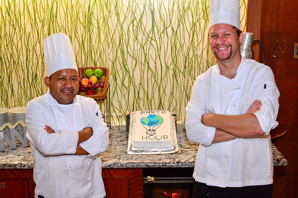 Chefs earth hour cake.