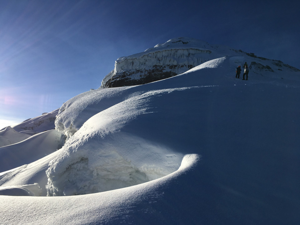 Climbers comming down from Cotopaxi´s summit.