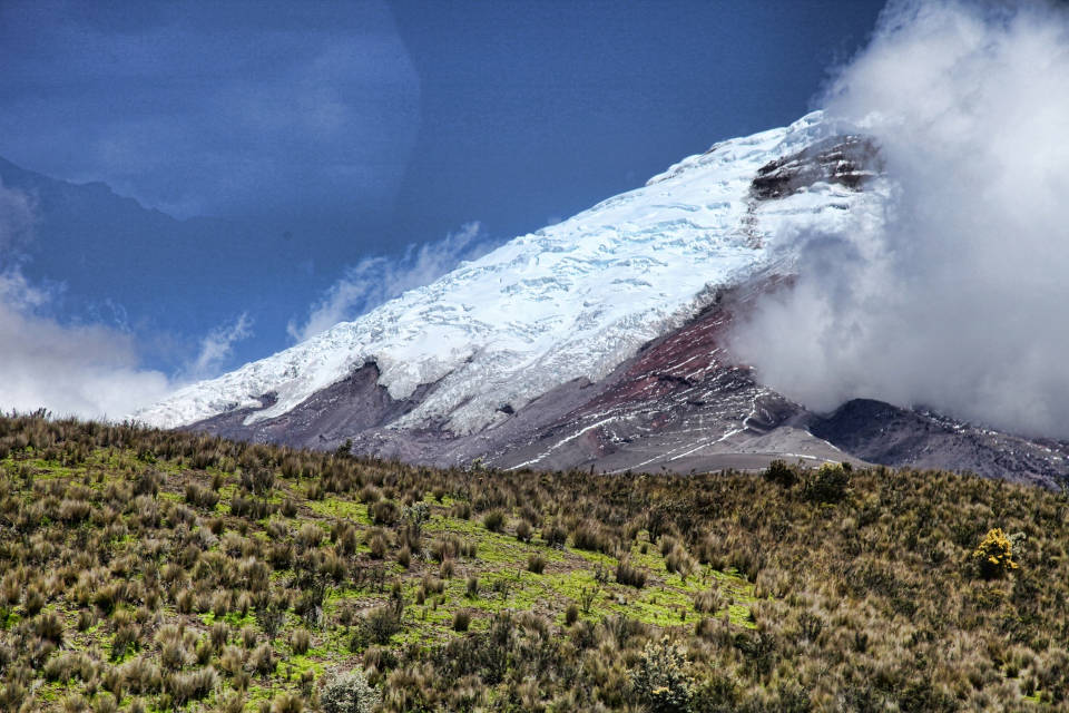 Cotopaxi seen from the valley of the Cotopaxi National Park.