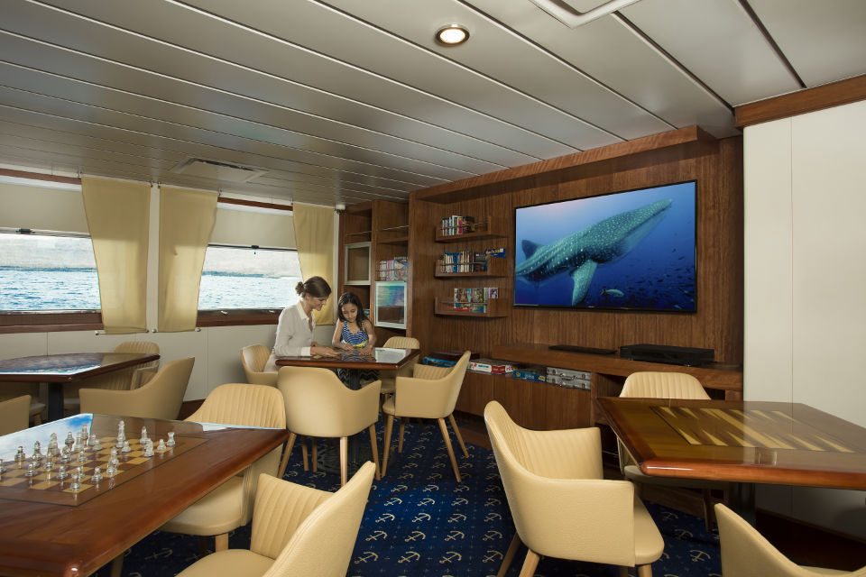 Discovery room onboard for entertainment in the Galapagos cruise.
