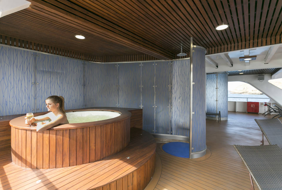 Hot tub in the Galapagos cruise.