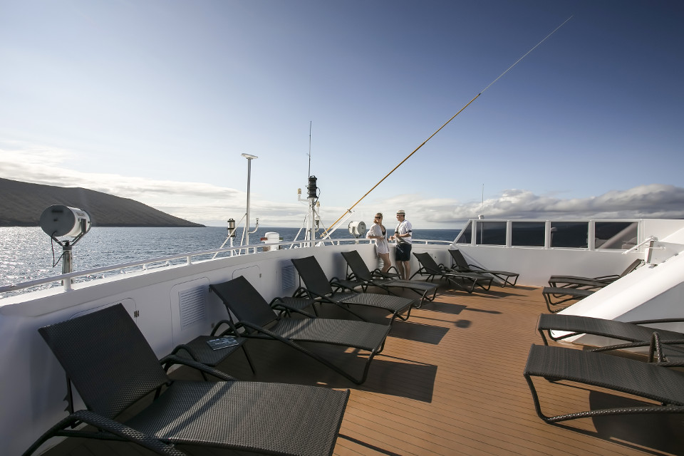 Communal sundeck balcony in the galapagos cruise.