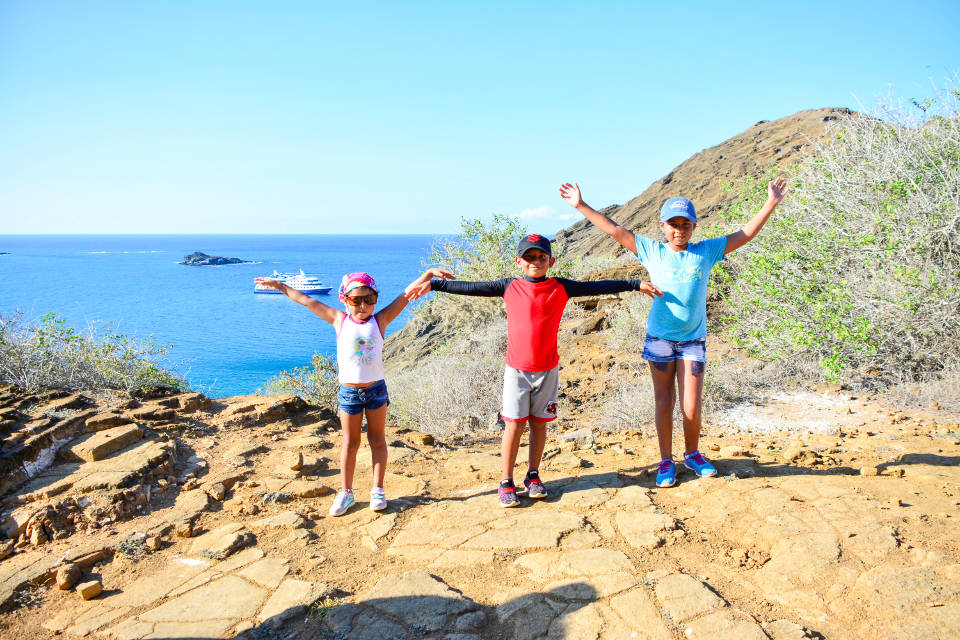 Kids land expedition with Galapagos cruises.