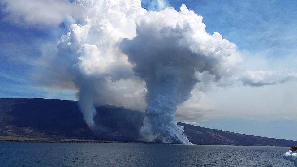Volcanic eruption in Fernandida island.