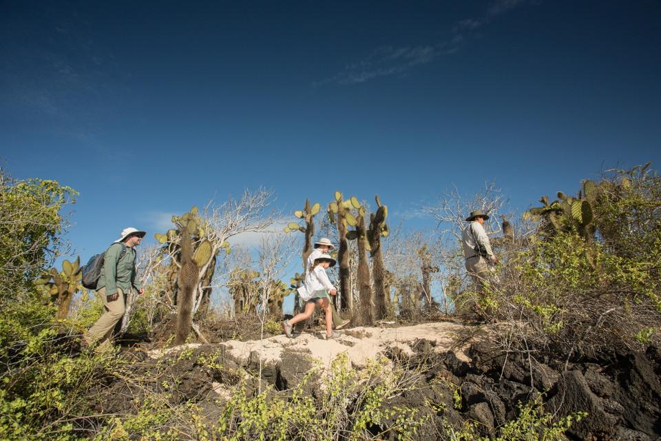 Hiking in Galapagos.