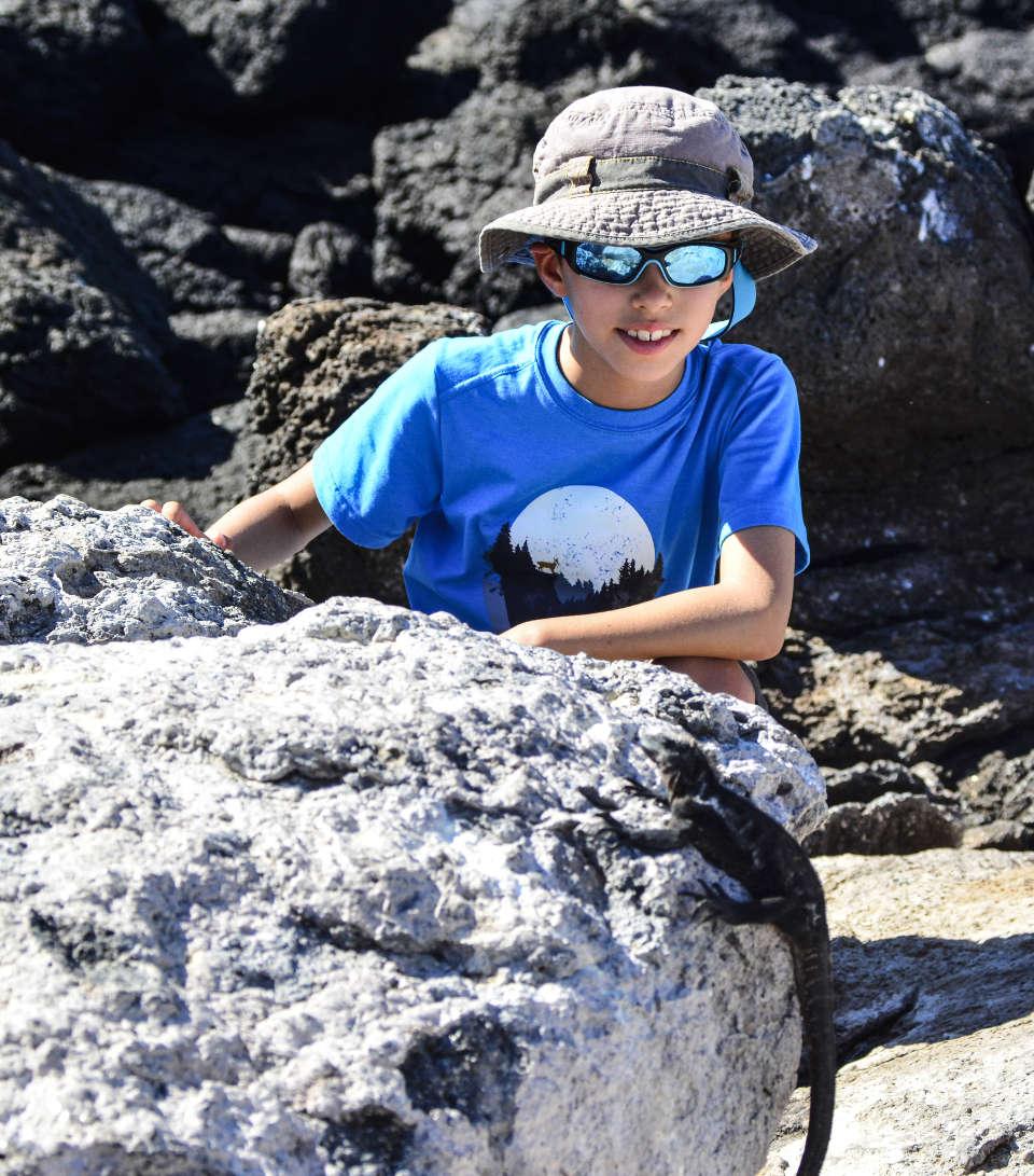 Kid in Galapagos adventure.