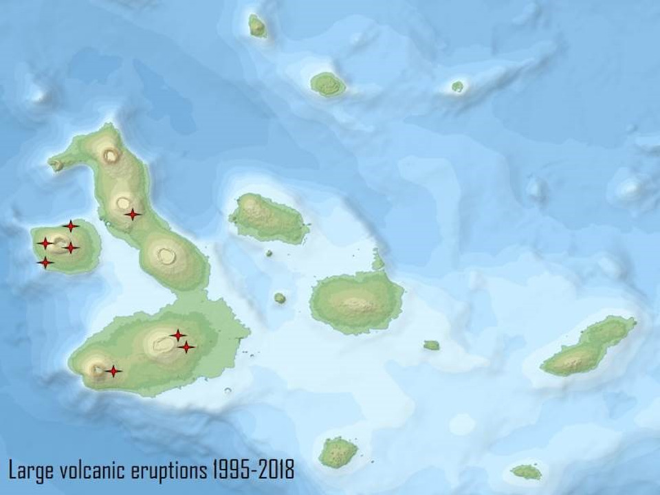 history of volcanic explosions in galapagos