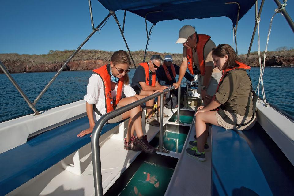 Glass-bottom boat Galapagos Island.