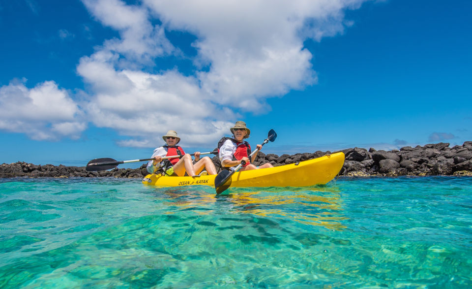 Kayaking in Santa Fe, Galapagos Islands
