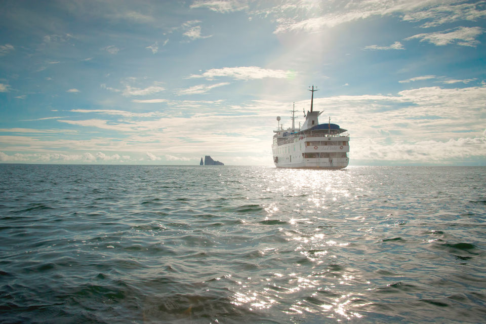 Yacht La Pinta in the waters of the Galapagos Islands.