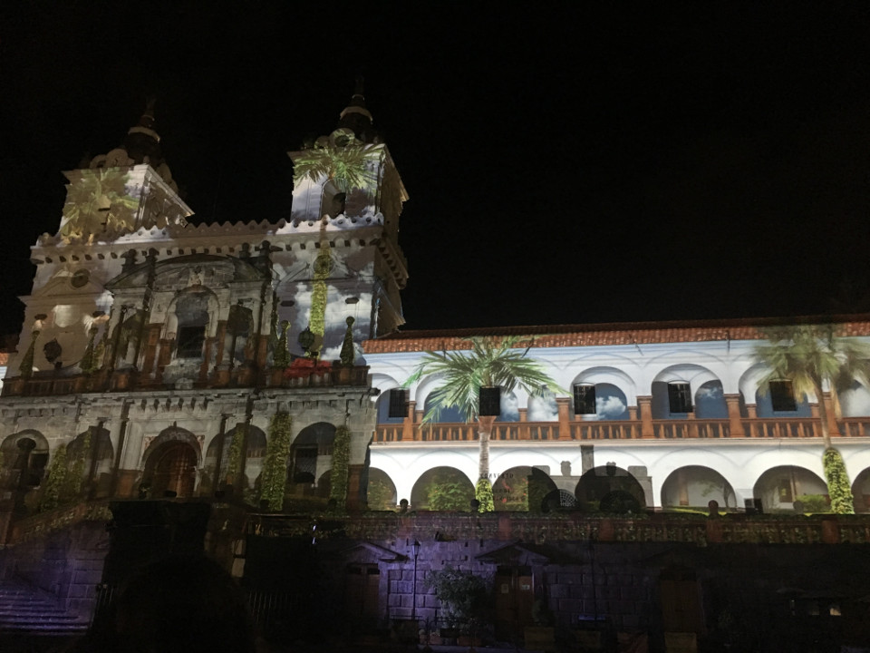 Quito's church during Festival of Light.