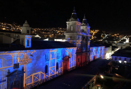 San Francisco church during the Festival of Light in Quito.