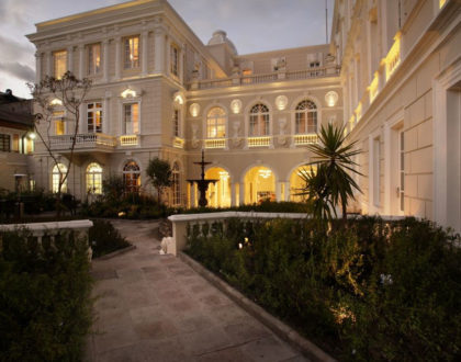 The interior garden of Casa Gangotena Hotel in Quito.