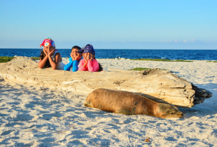 Kids enjoying beach in Galapagos Islands