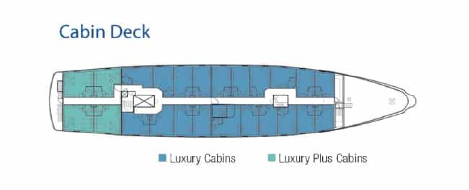 Yacht La Pinta's cabin deck.