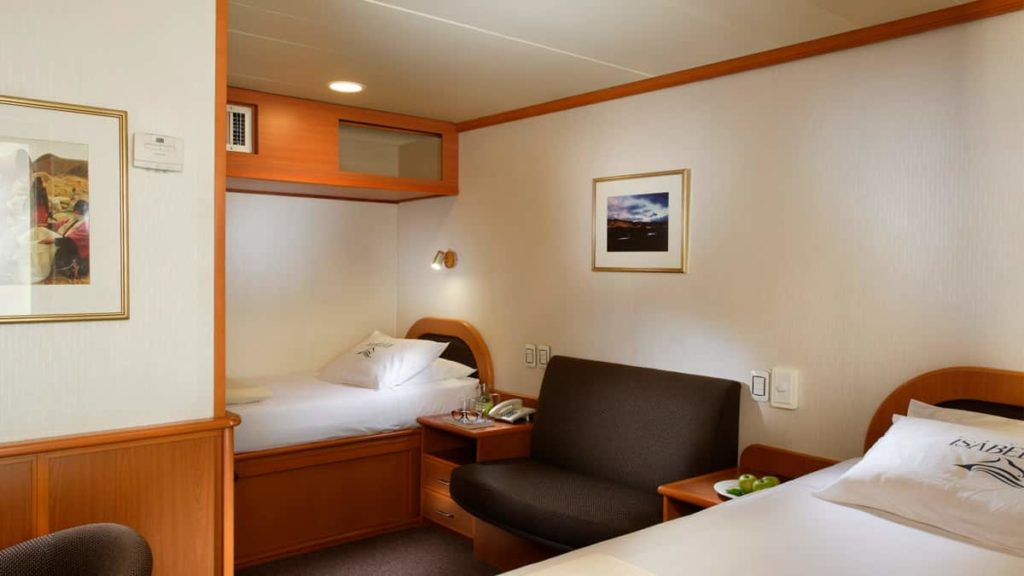 Classic twin cabin in Isabela II Yacht in the Galapagos Islands.