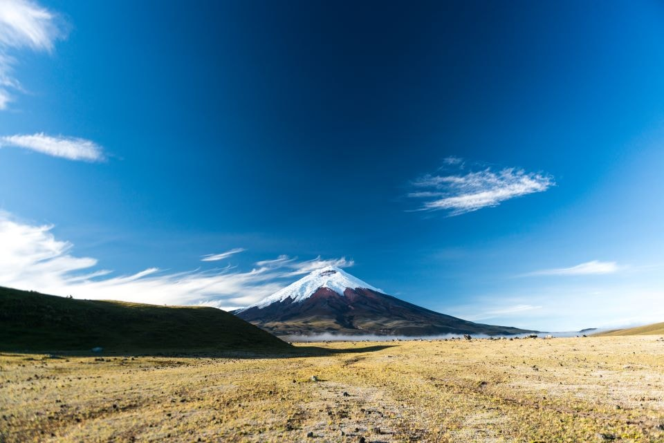 he view of Cotopaxi volcano from the national park.